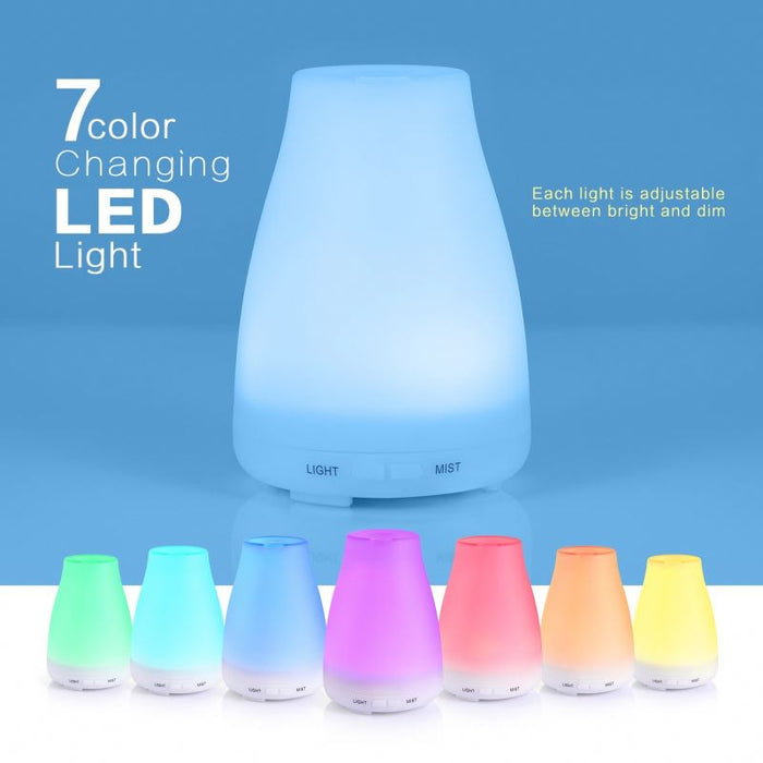 2nd Version Essential Oil Diffuser,Aroma Essential Oil Cool Mist Humidifier with Adjustable Mist Mode,Waterless Auto Shut-off and 7 Color LED Lights Changing for Home Office Baby