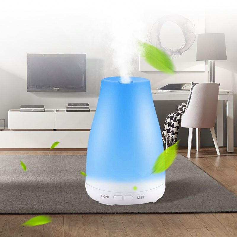 Essential Oil Diffuser with Noise Reduction Design, 150ml Ultrasonic Diffusers Cool Mist Humidifier with Sleep Mode, Waterless Auto-Off & 8-Color LED Light for Bedroom Baby