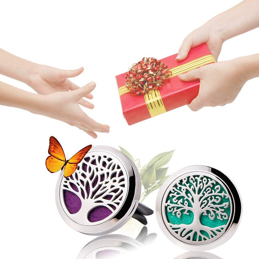 Tree of Life Aromatherapy Essential Oil Car Diffuser Vent Clip Air Freshener Fragrance Diffusers Stainless Steel
