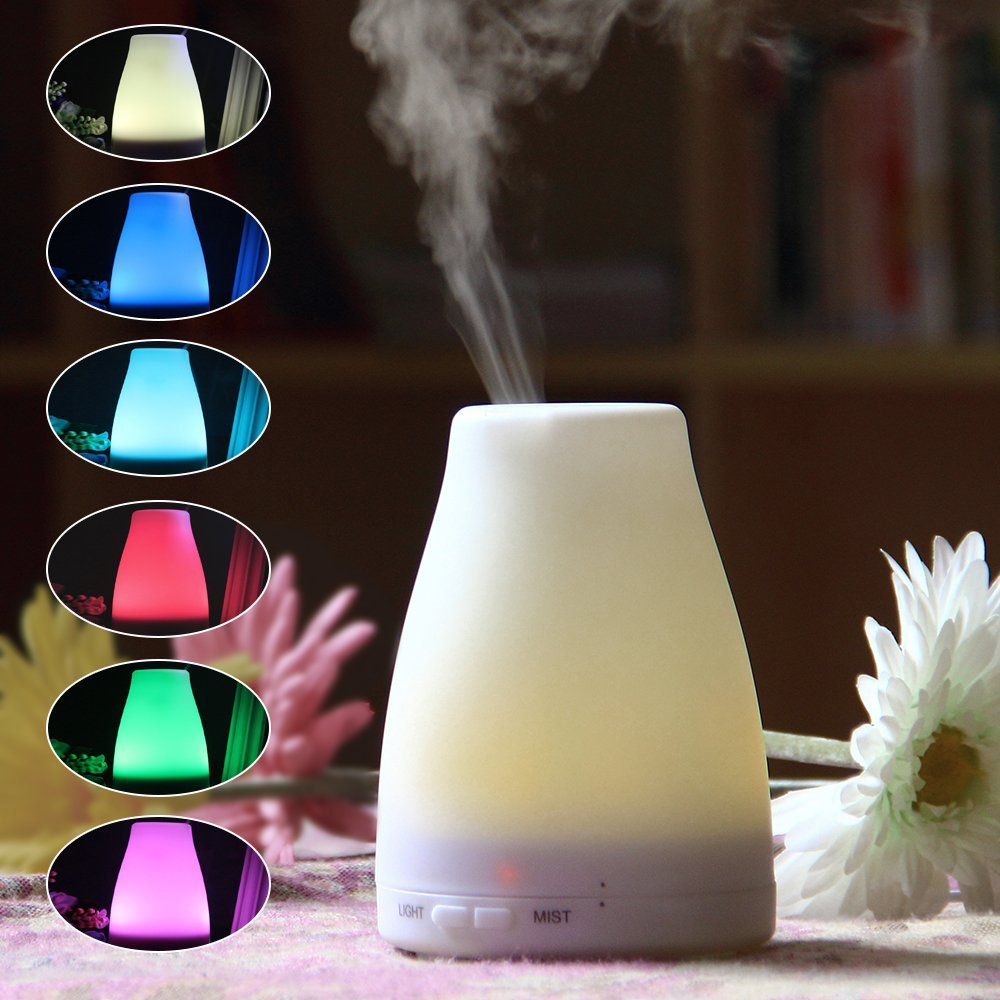 Ultrasonic Purifier Aromatherapy Oil Scent Humidifier Fogger Mist Maker Electronic Led Lamp Light Aroma Diffuser 100ml  with Adjustable Mist Mode,Waterless Auto Shut-off and 7 Color LED Lights Changing for Home Office Baby