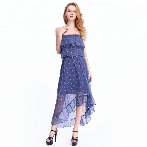 Vintage Off-Shoulder Bohemia Floral Print Boho Sleeveless Women Dress