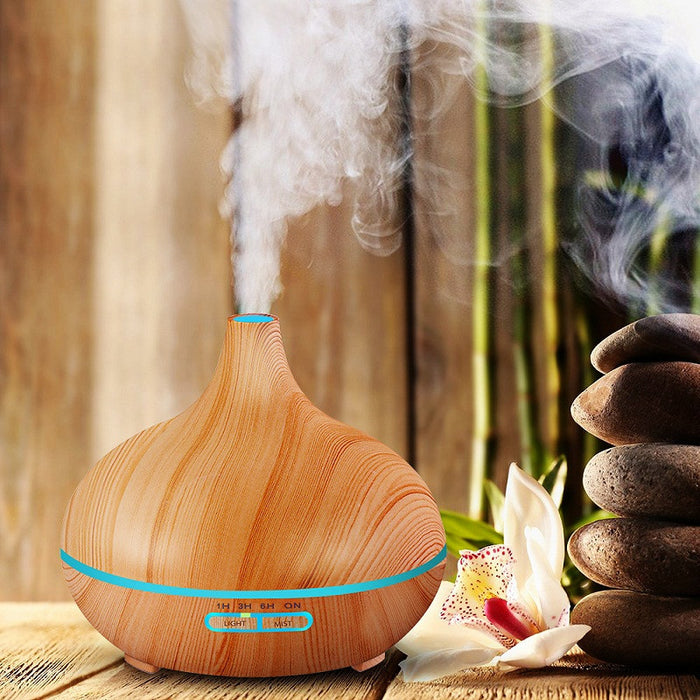 Air Humidifier Essential Oil Diffuser Aroma Lamp Aromatherapy Electric Aroma Diffuser Mist Maker for Home-Wood