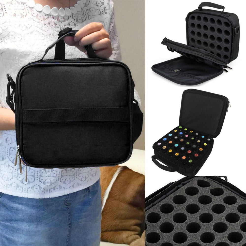 Essential Oils Bag Storage 42 Bottles Foam Nail Polish Black Carrying Case Oganizer Double Zipper for Traveling Sturdy