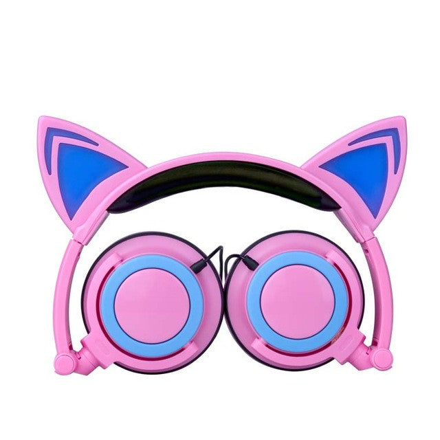 Gaming Headphones Cat Ears Style Folded headband earphone with LED Glowing Lights headset for Mobile Phone Pad Computer PC