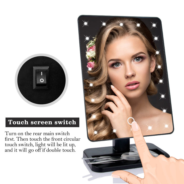 22 LED Makeup Mirror With Touch Screen Adjustable Vanity Mirror 360 Degree Rotation Professional Illumination Cosmetic Mirror