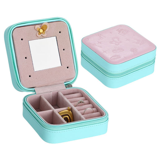 Mini PU Jewelry Box Basket Jewelry Packaging Display Case Gift Travel Portable Zippered Storage Organizer With Mirror