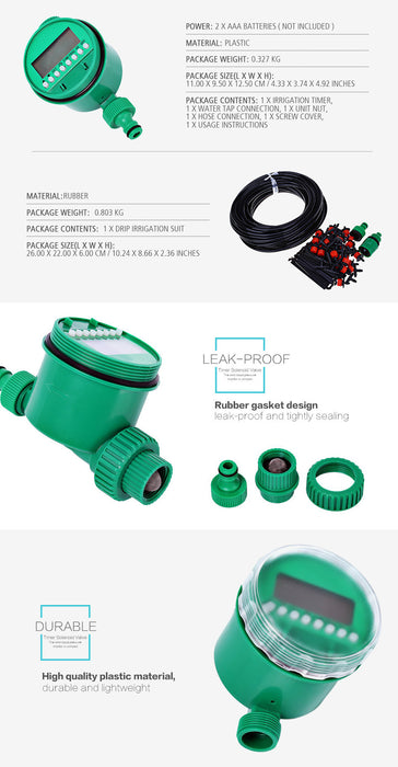25m DIY Micro Drip Irrigation System Plant Self Automatic Watering Timer Garden Hose Kits With Adjustable Dripper