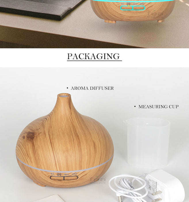 300ml Essential Oil Diffuser Wood Grain Ultrasonic Aroma Cool Mist Humidifier for Office Bedroom Baby Room Study Yoga Spa