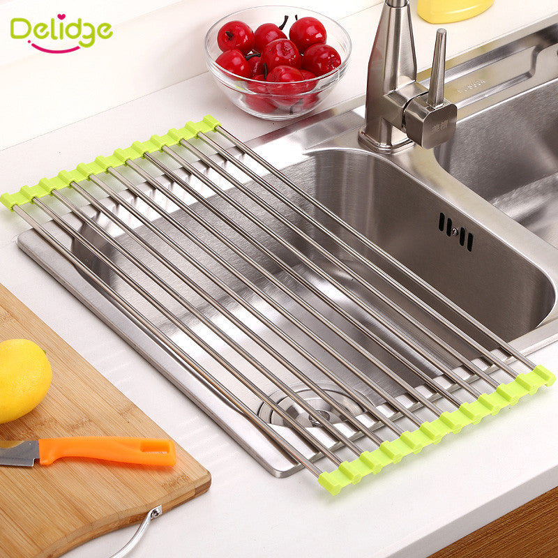 Delidge 1 pc Kitchen Sink Rack Stainless Steel Foldable Dish Cutlery Drainer Drying Holder Fruits Cup Dish Sink Rack Drying Tool