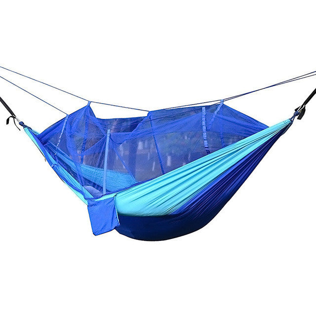 Camping Hammocks Garden Hammock Ultralight Portable Nylon Parachute Multifunctional Lightweight Hammocks with Mosquito Net