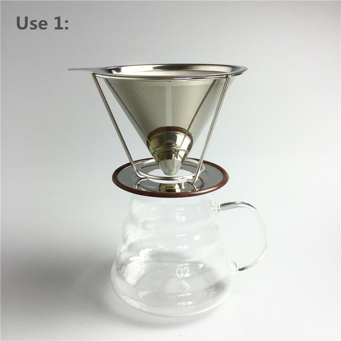 Reusable Coffee Filter Holder Sets Stainless Steel Brew Drip Coffee Filter Cone Funnel Metal Mesh Coffee Tea Filter Basket Tools