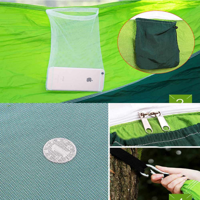 hot Person Portable Parachute Fabric Mosquito Net Hammock for Indoor Outdoor Camping Using Newest Fashion Handy Hammock Single