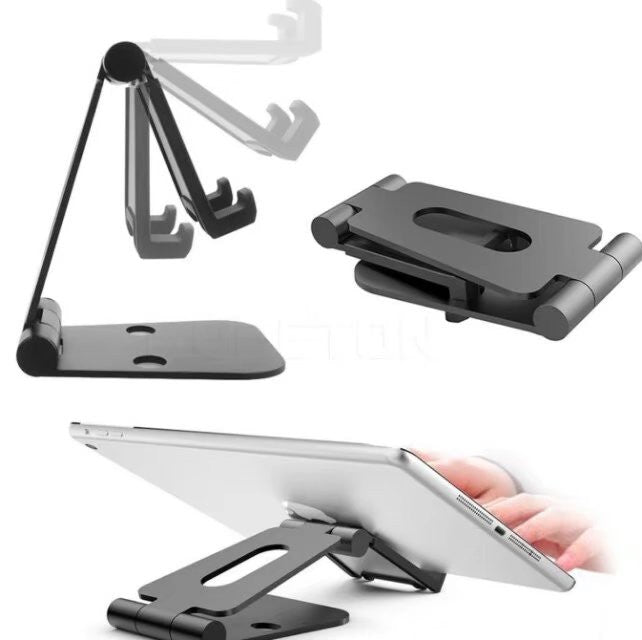 Foldable Aluminum Stand Multi-Angle Stand for Nintendo Switch, iPhones, iPad Universal for All Other Tablets Phones - Black