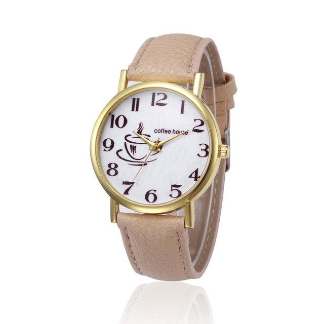 2017 New Fashio PU Leather Women Watches Coffee House Letter Pattern Casual Women's Quartz Watch Female Relogio Feminino &03