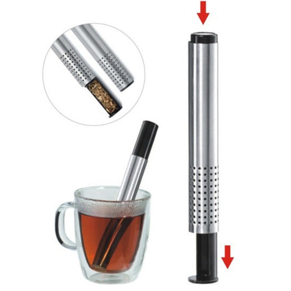Tea Strainer Stick Stainless Steel Pipe Design Mesh Tea Filter Coffee Teapot Tools  Portable Tea Infuser