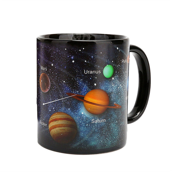 Ceramic Mug Color Changing Solar System Heat Sensitive Drinking Cup for Hot Tea or Coffee Drinks (330ml)