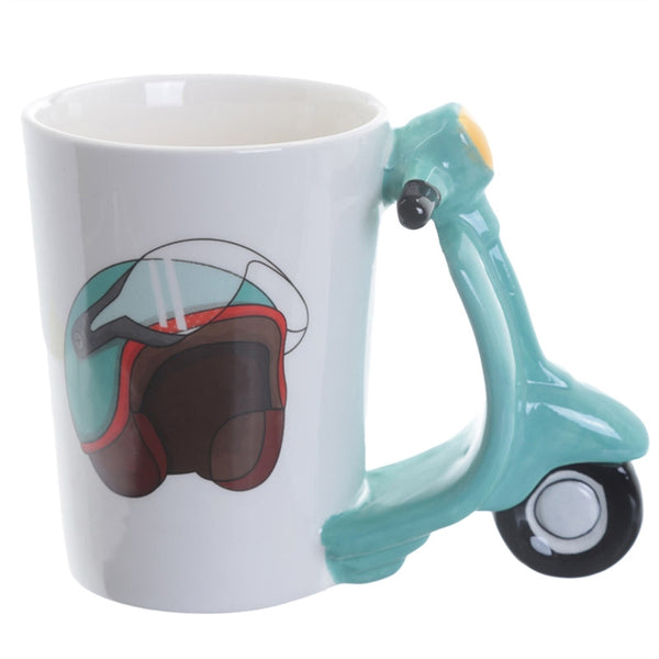 Ceramic Mug Novelty 3D Scooter Shaped Handle Drinking Cup for Coffee or Tea
