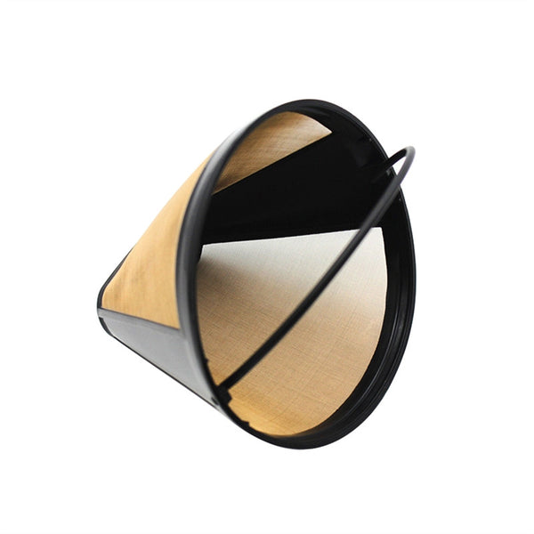 Reusable Stainless Cone Shape Coffee Filter Mesh Basket (Golden)
