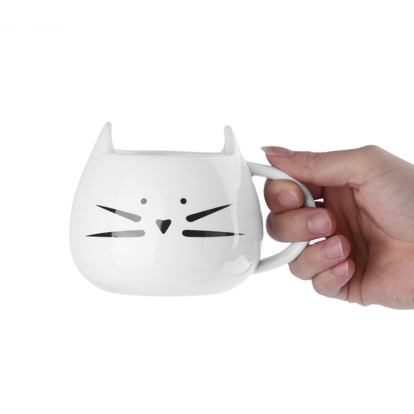 Food Grade White/Black Ceramic Cat Mug/Cup