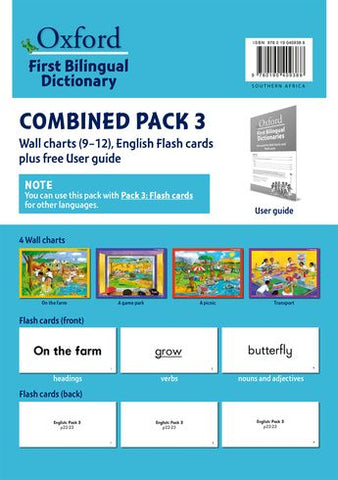 """Oxford First Bilingual Dictionaries: Combined Pack 3  (Wall Charts 9–12, English Flash Cards plus free User Guide)"""