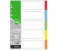 Treeline A4 Board Index Dividers