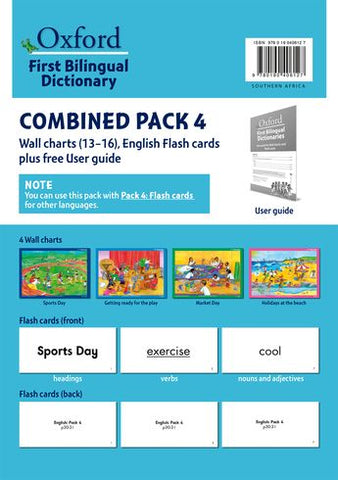 """Oxford First Bilingual Dictionaries: Combined Pack 4  (Wall Charts 13–16, English Flash Cards plus free User Guide)"""