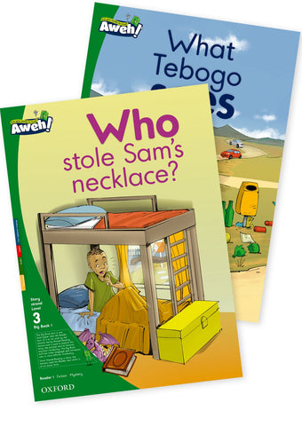 Aweh! English Gr1 L3 Big Book 1 Who stole Sam's necklace?, What Tebogo sees Who stole Sam's necklace? and What Tebogo sees