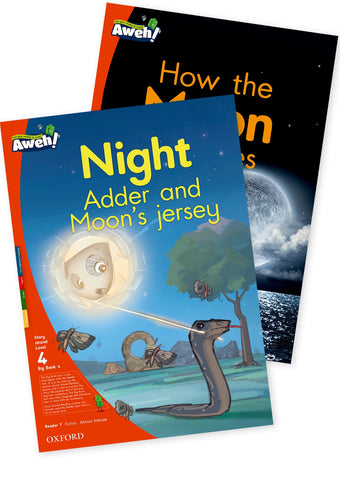 Aweh! Eng Gr1 L4 Big Book 4 Night Adder and Moon's jersey, How the Moon changes Night Adder and the Moon's jersey and How the Moon changes