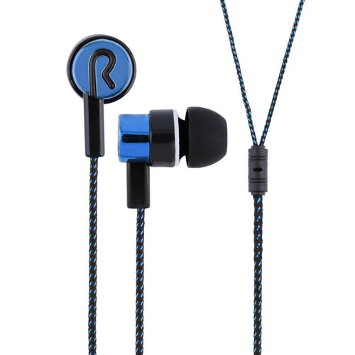 Metal Earphones Jack Standard Noise Isolating Reflective Fiber Cloth Line 3.5mm Stereo Earphone Earbuds