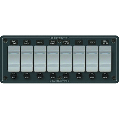 Blue Sea 8261 Waterproof Panel 8 Position - Slate Gray