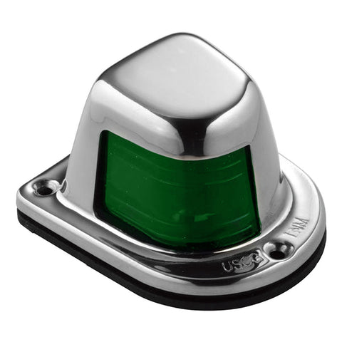 Attwood 1-Mile Deck Mount, Green Sidelight - 12V - Stainless Steel Housing