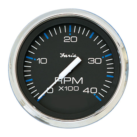 "Faria Chesapeake Black SS 4"" Tachometer - 4,000 RPM (Diesel - Mechanical Takeoff & Var Ratio Alt)"