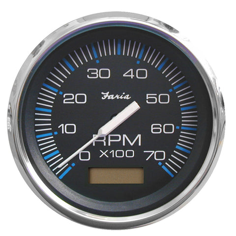 "Faria Chesapeake Black SS 4"" Tachometer w/Hourmeter - 7,000 RPM (Gas - Outboard)"