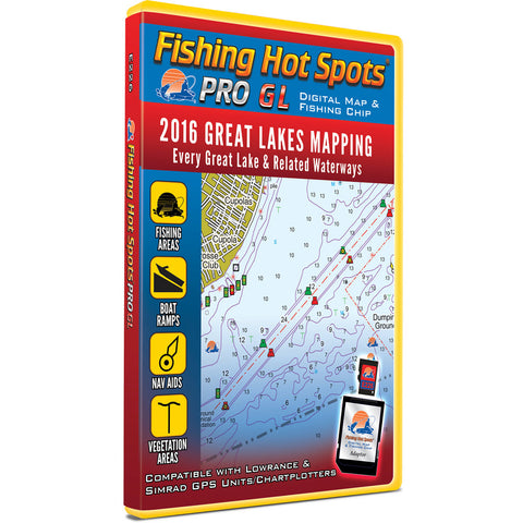 Fishing Hot Spots PRO GL Digital Map & Fishing Chip - Great Lakes & Related Waterways 2016