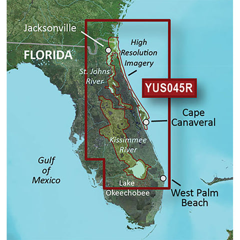Garmin BlueChart® g2 HD w/High Resolution Satellite Imagery - Florida East Coast + St Johns + Kissimmee River System