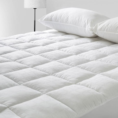 Mattress Topper 100% Cotton Sateen Cover Ball Fibre protector - yournextquilt.com