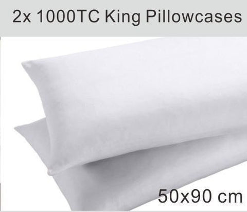 2 WHITE PURE COTTON 1000TC KING PILLOW CASE 50 × 90CM - yournextquilt.com