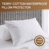 2 x Waterproof Terry Cotton Cover Anti-allergy Pillow Protector Case- 48 x 73cm - yournextquilt.com