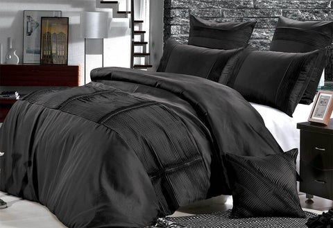 Black Florence Pintuck Quilt Cover Set in Queen & King Size - yournextquilt.com