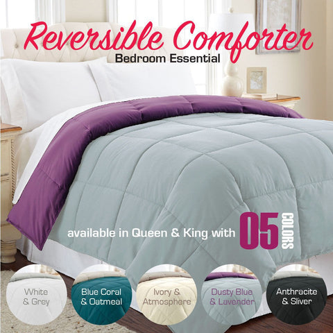 Reversible Comforter Queen/King Size Machine Wash All Seasons - yournextquilt.com