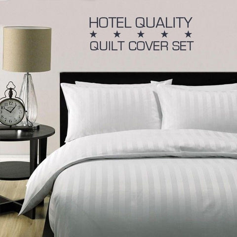 5 Star Luxury Hotel quality white stripe Quilt cover set - yournextquilt.com