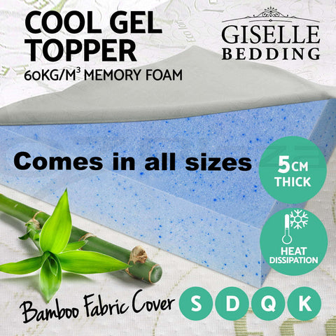 COOL GEL Memory Foam Mattress Topper BAMBOO Fabric Cover ALL SIZES 5CM - yournextquilt.com