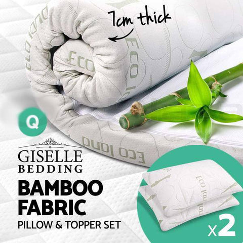 Bamboo Fabric Cover Memory Foam Mattress Topper + 2X Memory Foam Pillows + Bamboo Covers - yournextquilt.com