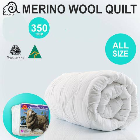 Australian  Made 100% Merino Wool Quilt 350GSM- Comes in Super King Size!! - yournextquilt.com