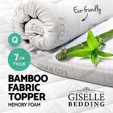 BAMBOO Memory Foam Mattress Topper 7CM Thick Elastic QUEEN SIZE ONLY - yournextquilt.com
