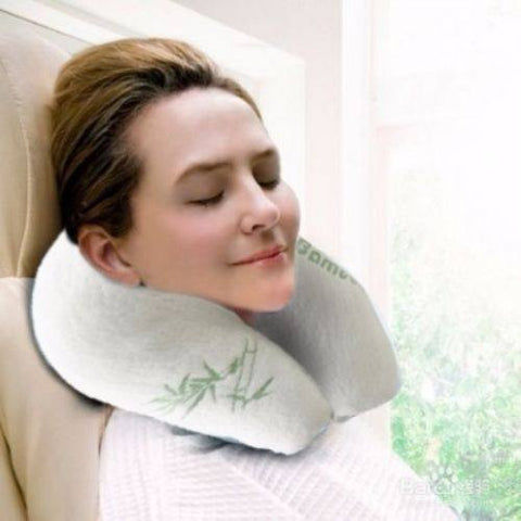 Bamboo Memory Foam Travel Neck Pillow Support Cushion - yournextquilt.com