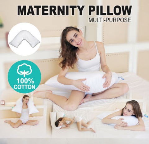 Australian Made V Shape Maternity Nursing Pregnancy Support Pillow 100% Cotton Cover - yournextquilt.com