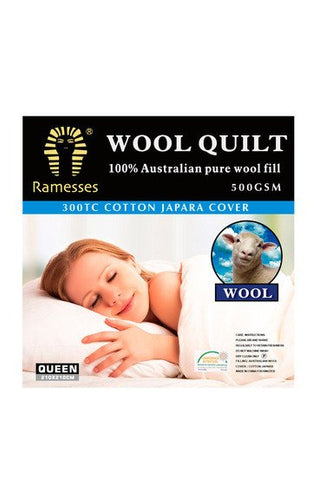 Wool Quilt 100% Australia Pure Wool Fill 500gsm Ramesses