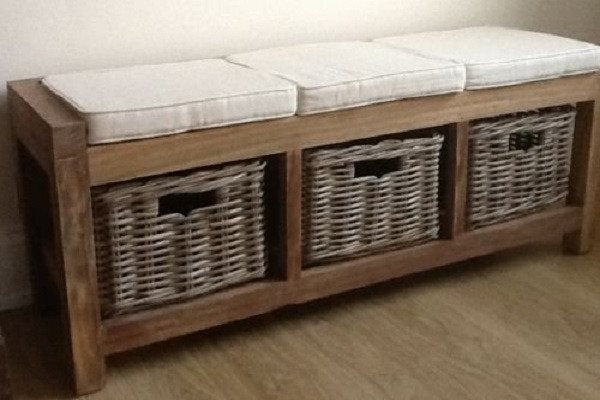 Reclaimed Teak hall seat with shoe storage, three natural wicker basket drawers - SustainTheFuture - 1