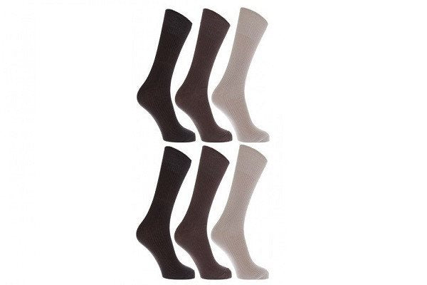 Mens Anti-Bacterial Bamboo Super Soft Work Top Socks (Pack Of 6) - SustainTheFuture - 1
